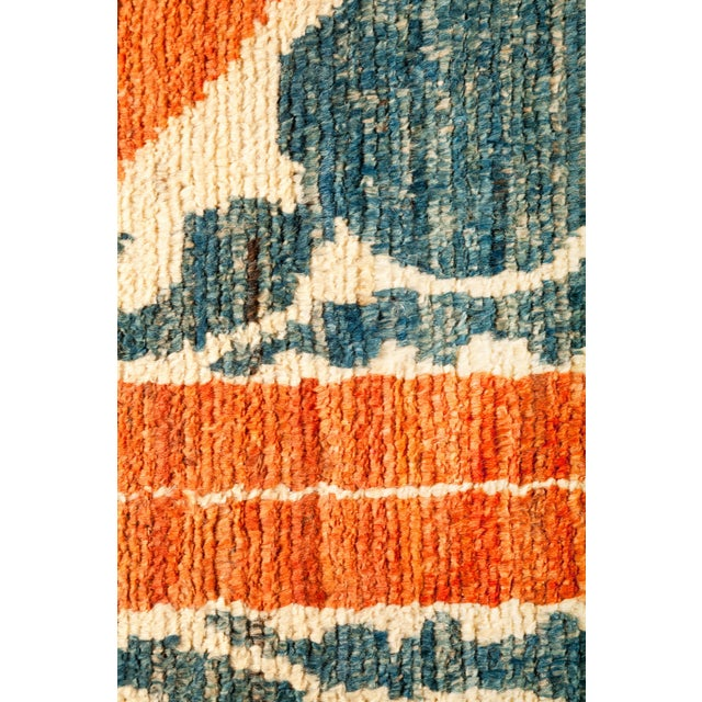 Tribal Orange and Green Tribal Rug For Sale - Image 3 of 4