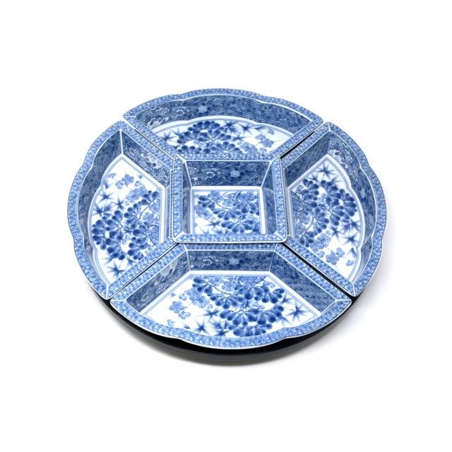Vintage Japanese Blue and White Lazy Susan - Set of 6 For Sale - Image 13 of 13