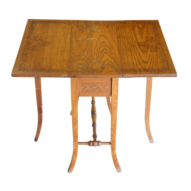 20th Century Arts & Crafts English Oak Gate-Leg Accent Table For Sale - Image 11 of 11