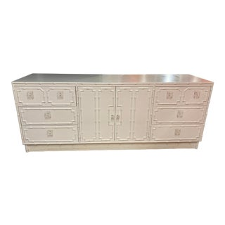 Faux Bamboo Dresser With Lucite Knobs For Sale