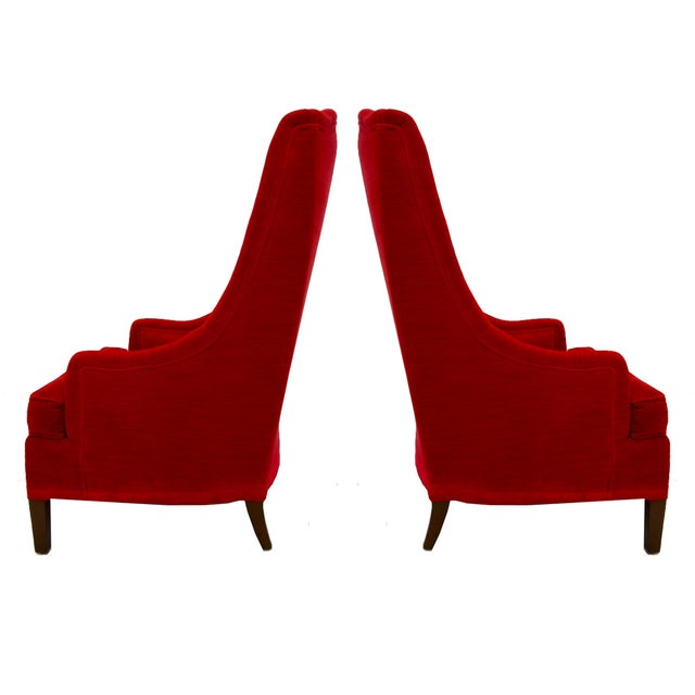 Tufted Red Velvet Hollywood Regency Chairs - Pair - Image 3 of 4