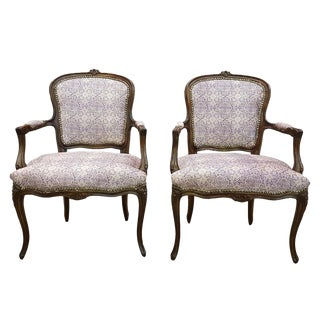 Pair of Antique French Louis XV Style Armchairs Newly Upholstered For Sale