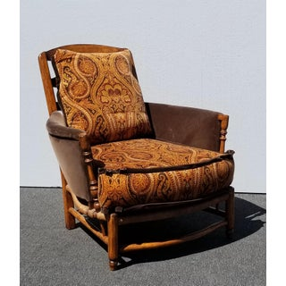 Vintage French Country Chair Ottoman Burnt Orange Paisley Velvet W Down Feathers Preview