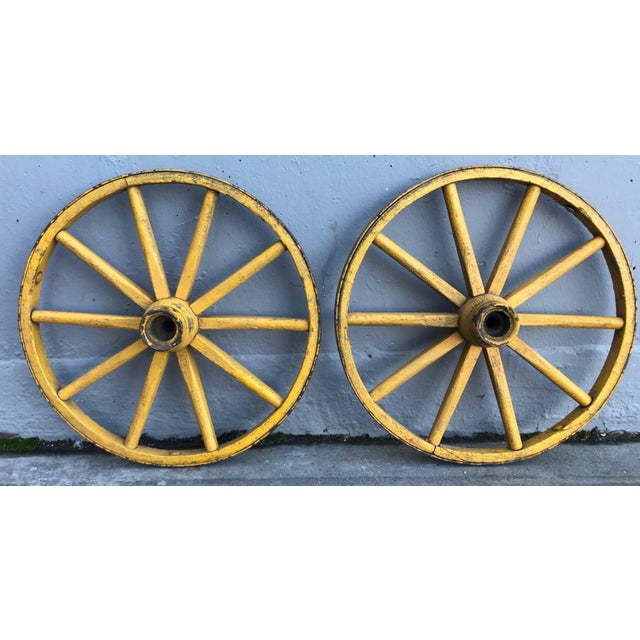 Wood Folk Art Painted Wagon Wheels - a Pair For Sale - Image 7 of 7