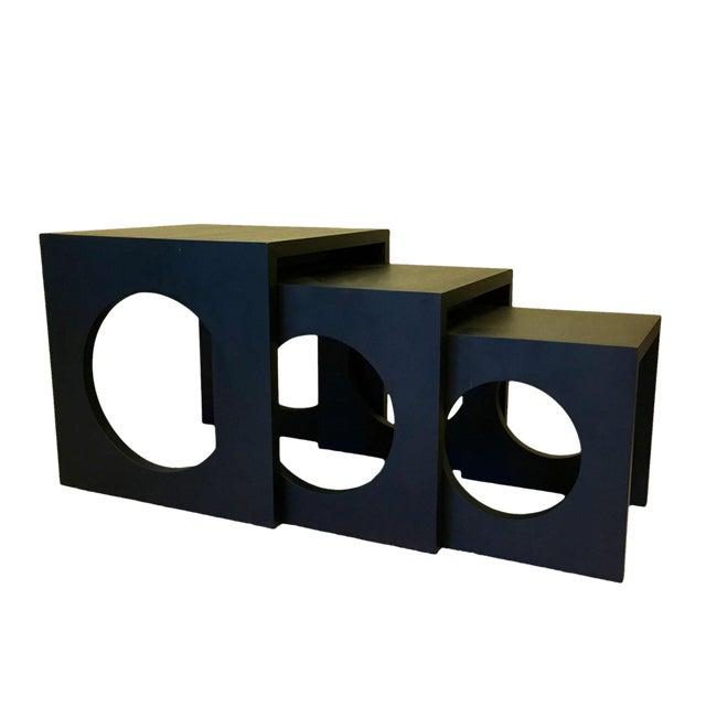 Modern Black Wood Nesting Tables - Set of 3 - Image 1 of 6