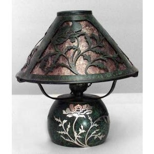 Heintz Art Metal Shop American Mission bronze green patina boudoir table lamps- A Pair For Sale - Image 4 of 7