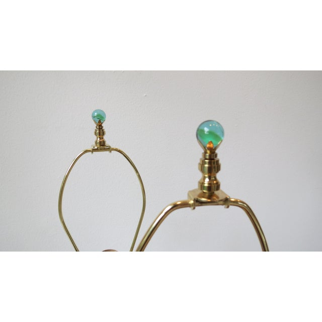 Modern Green Blown Glass Lamps - A Pair - Image 8 of 9