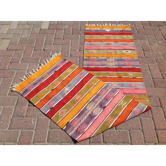 "Vintage Turkish Kilim Runner - 1'10"" X 7'6"" - Image 6 of 6"