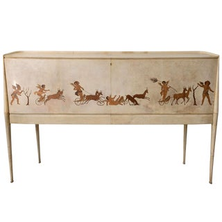 Italian Modern Parchment and Inlaid Mixed Wood Drop Front Desk, Paolo Buffa For Sale