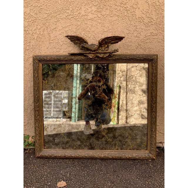 Vintage Gold Leaf Antique Mirror With Soaring Eagle For Sale In Los Angeles - Image 6 of 6