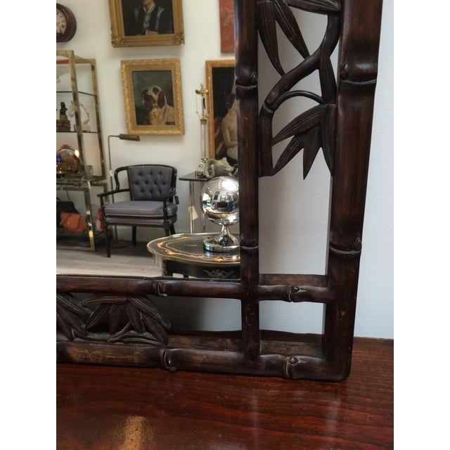 Faux Bamboo Carved Wood Mirror For Sale - Image 5 of 8