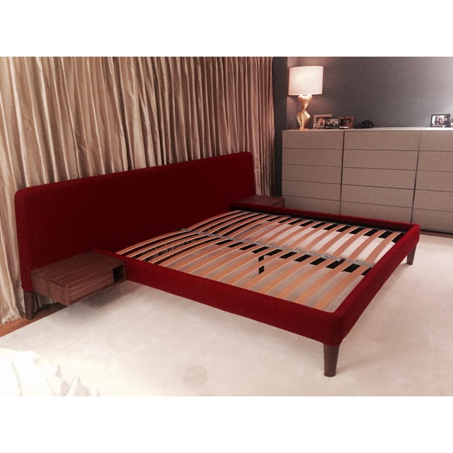 Design Within Reach Red Upholstered Wide Bed - Image 8 of 8