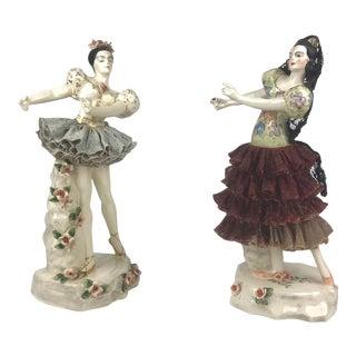 Vintage Dresden Porcelain Dancers- a Pair For Sale