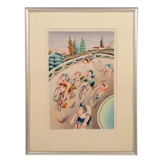 Yuval Mahler Bicycle Race Lithograph For Sale