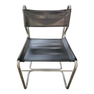 Vintage Mid Century Black Chrome Chair For Sale