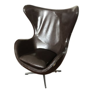 1960s Arne Jacobsen for Fritz Hansen Brown Leather Egg Chair