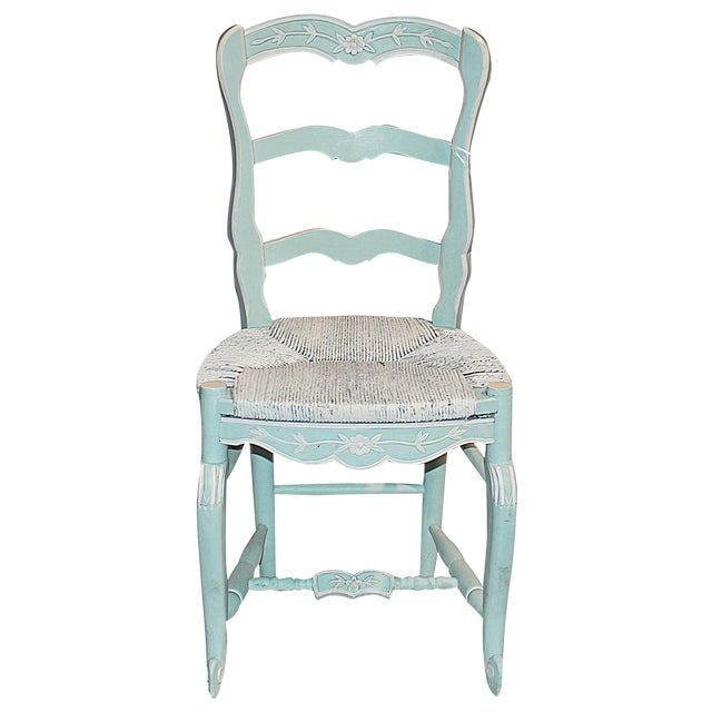 French Country Pale Blue Chair For Sale