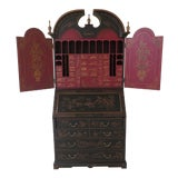 Image of Chinoiserie Decorated Secretary Desk With Fitted Interior For Sale