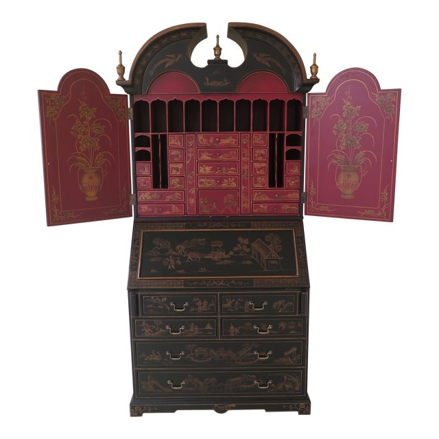 Chinoiserie Decorated Secretary Desk With Fitted Interior For Sale