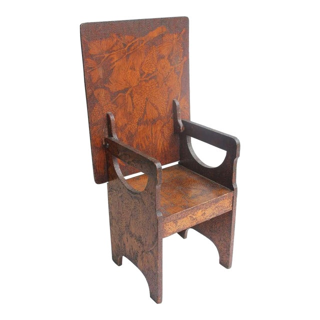 Folk Art Hand Made Wooden Chair/Table - Image 1 of 6