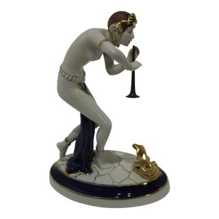 Art Deco 1920s-30s Snake Charmer Figurine With Old Style Horn Royal Dux Czech Tags Signatures For Sale