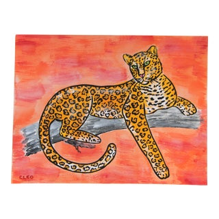 Leopard Chinoiserie Jungle Safari Painting by Cleo Plowden For Sale