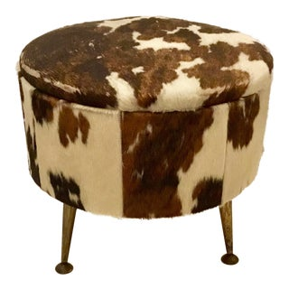 1960s Vintage Cowhide Storage Ottoman For Sale