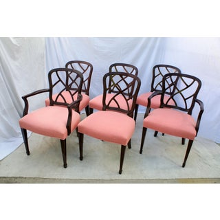 1990s Vintage Kindel Hepplewhite Ribbon Dining Chairs - Set of 6 Preview