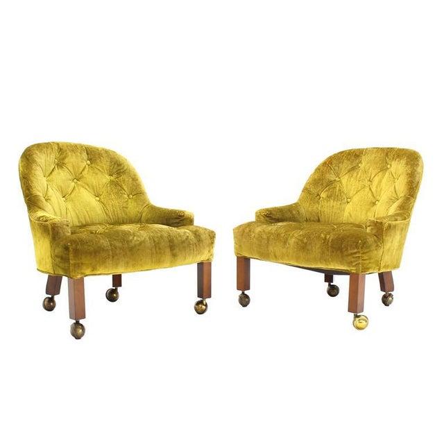 Hollywood Regency Pair of Gold Tufted Velvet Upholstery Vintage Barrel Back Slipper Lounge Chairs For Sale - Image 3 of 8