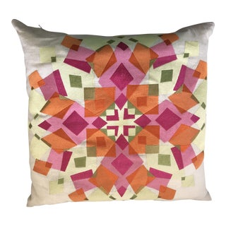 Trina Turk Embroidered Geometric Floral Pillow For Sale