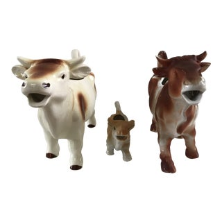 Lot of Vintage German Collectible Porcelain Cow Creamers For Sale