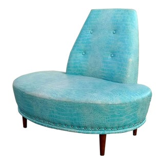 Custom Kaas Tailored Aqua Lagoon Alligator Skin Lounge Chair For Sale