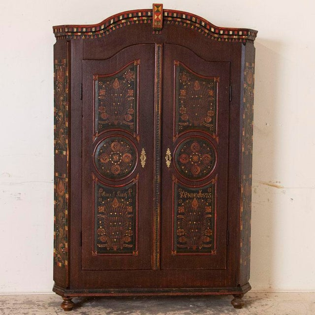 Rustic European Antique 2 Door Hungarian Armoire With Original Folk Art Paint For Sale - Image 3 of 13