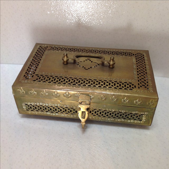 Ornate Vintage Hinged Brass Box - Image 2 of 10