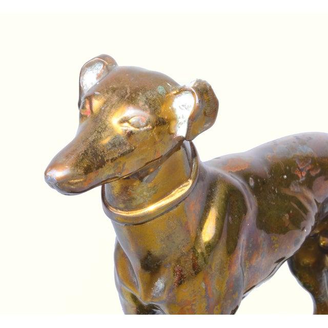 Bronze Greyhound on Black Metal Base - Image 4 of 7