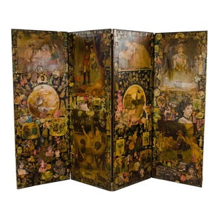Late 19th C. Victorian Decoupaged Four Panel Folding Screen Divider For Sale