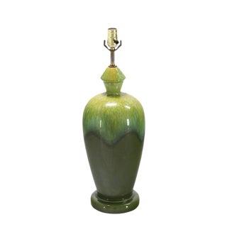 Art Pottery Olive Green Vase Shape Base Table Lamp For Sale