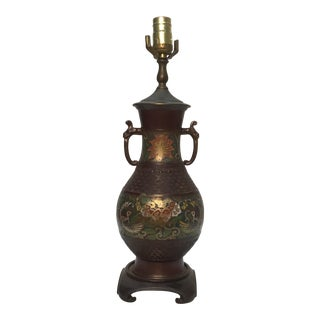 Early 20th Century Vintage Japanese Champlevé Lamp For Sale