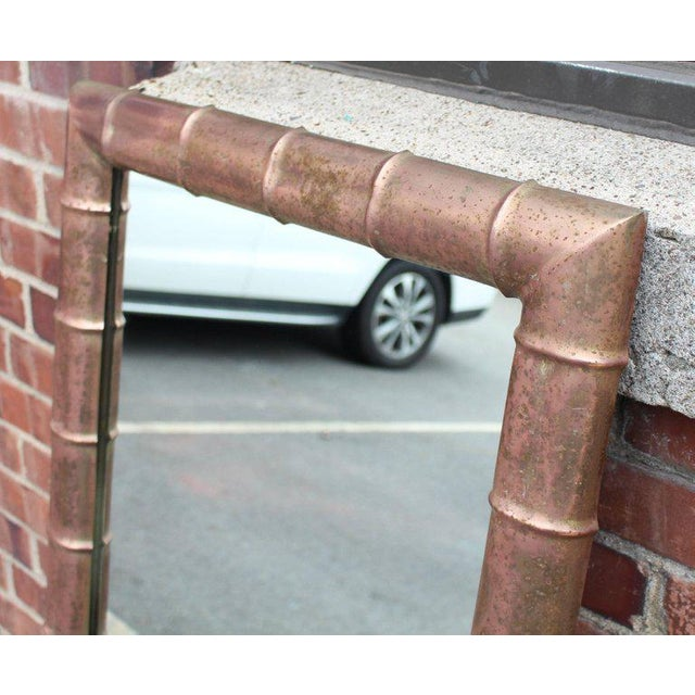 Mid-Century Modern Faux Bamboo Weathered Copper Rectangular Mirror For Sale - Image 4 of 10