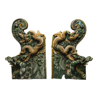 A Pair of Ming Dynasty Glazed Dragon Temple Tiles