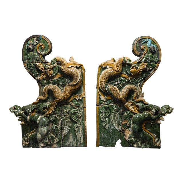 A Pair of Ming Dynasty Glazed Dragon Temple Tiles For Sale