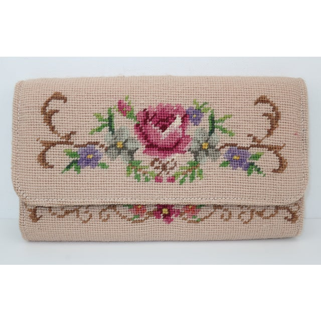 Vintage Floral Needlepoint Envelope Clutch Handbag For Sale - Image 11 of 11
