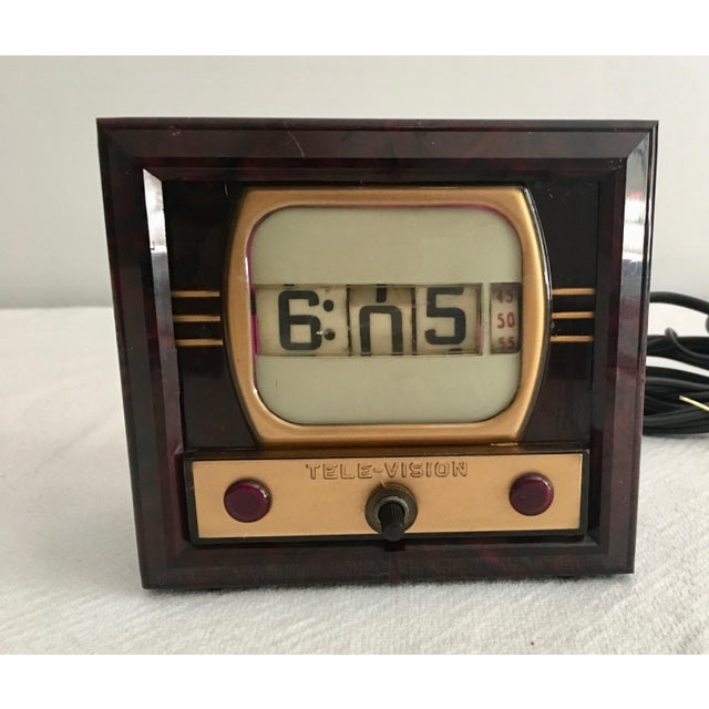 Brown Mid-Century Television Clock For Sale - Image 8 of 9