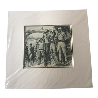 1948 Vintage Olympic Rowing Drawing For Sale