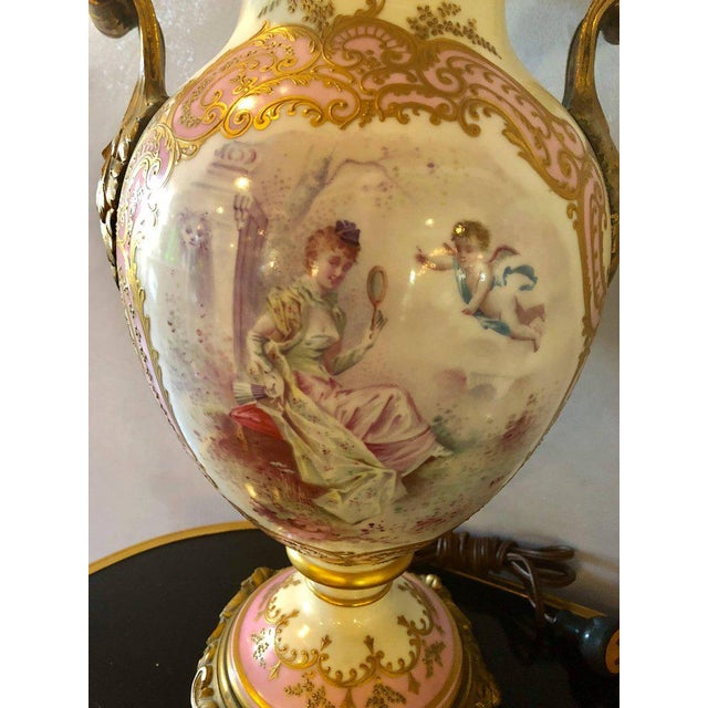 Bronze Bronze Mounted French Porcelain Serves Urns Converted into Table Lamps - a Pair For Sale - Image 7 of 12