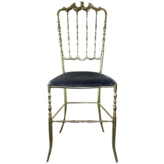 1950s Chiavari Italian Brass Chair For Sale