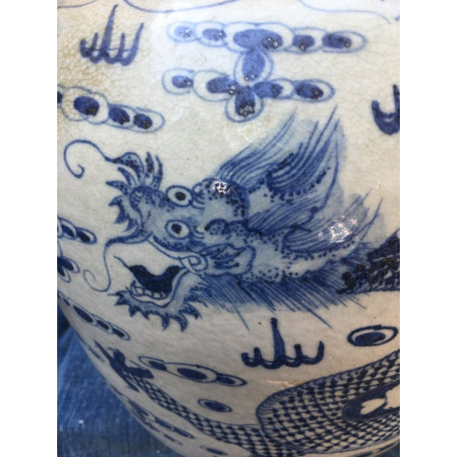 Chinese Dragon Urn W/ Foo Dog Handle Lid - Image 7 of 11
