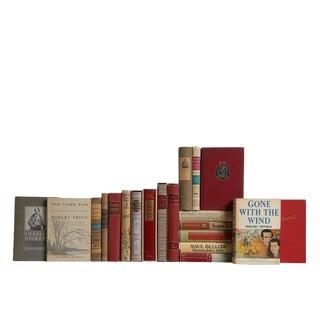 Mid-Century Khaki & Merlot World Classic Books - Set of 20