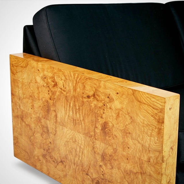Fabric 1970s Vintage Burl Wood Case Sofa and Lounge Chair by Milo Baughman For Sale - Image 7 of 11