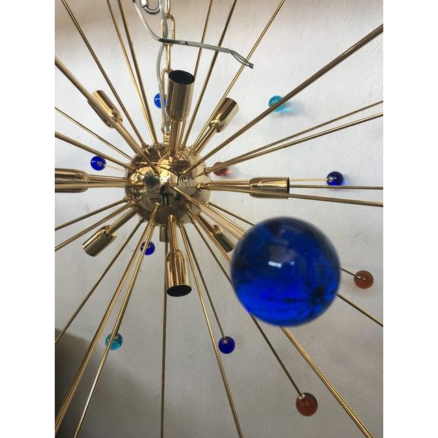 Metal Multicolor Murano Glass Triedo Sputnik Chandelier For Sale - Image 7 of 12